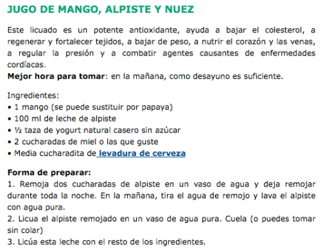 Jugo Mango, Alpiste y Nuez