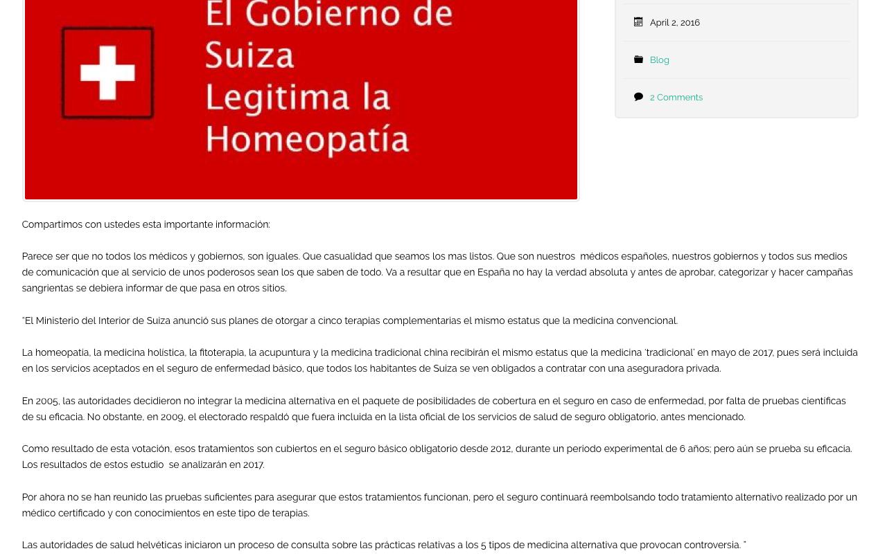 """Suiza legaliza la HOMEOPATIA y otras 4 """"terapias"""" Noticia Terapias alternativas"""